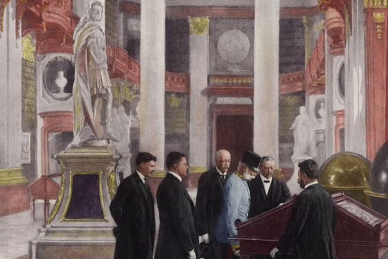 Emperor Francis Joseph visiting an exhibition of Habsburg treasures in the court library's State Hall, 30 November 1909