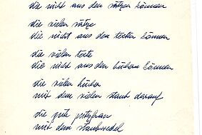 "Ernst Jandl: ""Library"", poem clean copy, 20 September 1977"