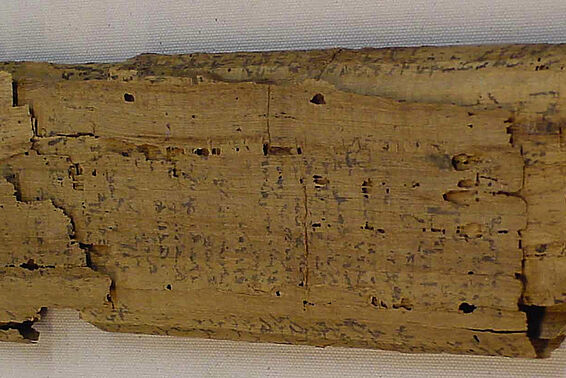 Papyrus scroll with demotic calculations