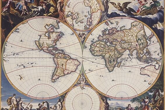 Map of the world, around 1660