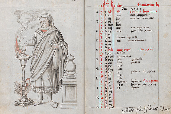 6th personification of January and calendar sheet with ownership comment of the humanist Johannes Fuchsmagen