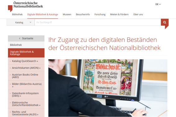 Screenshot www.onb.ac.at Digitale Bibliothek & Kataloge