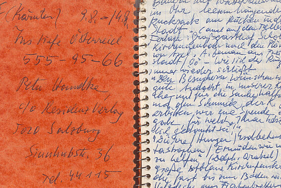 "Peter Handke: notebook with the title ""Ins tiefe Österreich"", 1979"