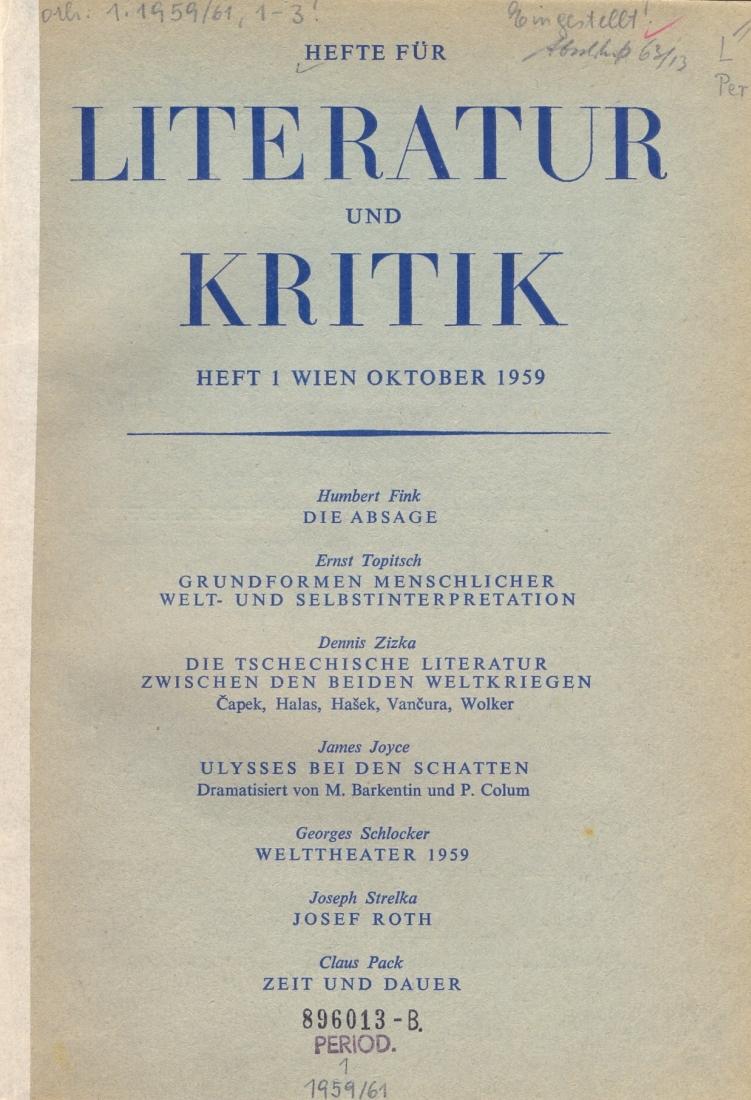 Abb 1 cover der ersten ausgabe der hefte für literatur und kritik die